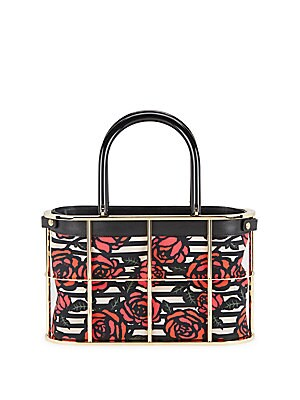 Rose-Print Caged Shopper