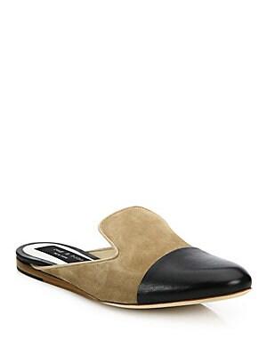 Sabine Suede & Leather Cap-Toe Loafers