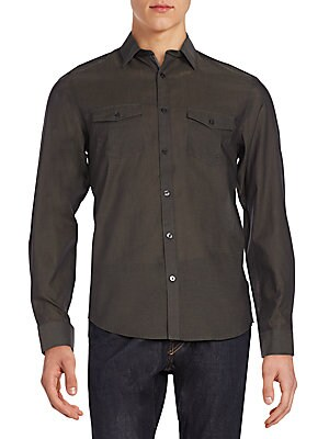 Regular-Fit Chambray Cotton & Linen Sportshirt