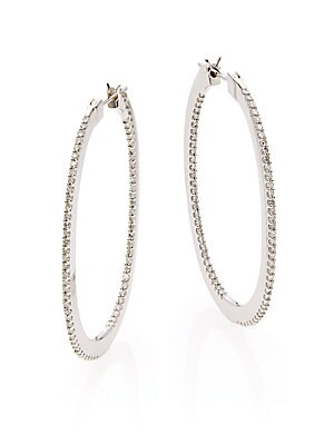 Diamond & 14K White Gold Hoop Earrings/1