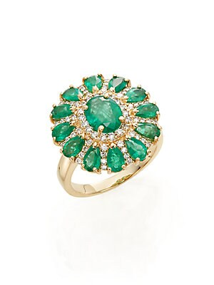 Diamond, Emerald & 14K Yellow Gold Flower Ring