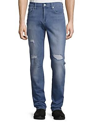 Slimmy Slim Straight-Leg Distressed Jeans