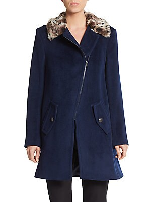 Leopard Faux Fur-Collared Coat