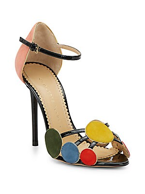 Contemporary Velvet & Patent Leather Sandals
