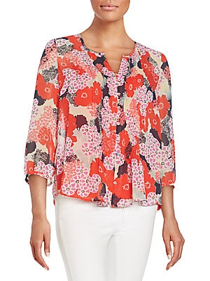 Floral-Print Pleated Bib Blouse