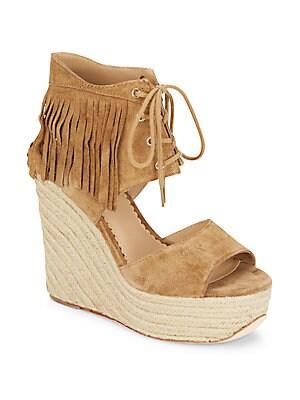 Belinda Fringed Suede Espadrille Wedge Sandals