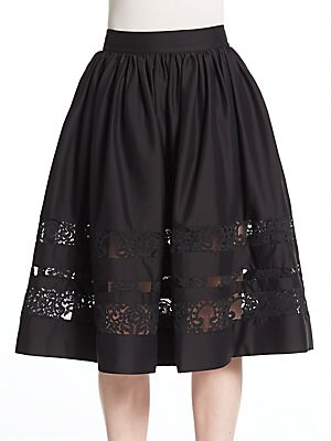 Tamia Lace-Trim Midi Skirt