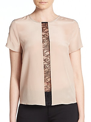 Bernadeth Lace-Panel Silk Top