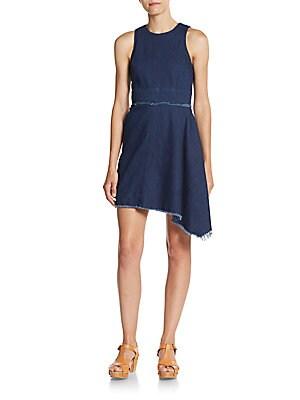 N / NICHOLAS Frayed Asymmetrical Denim Dress