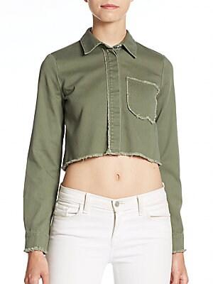 Cropped Frayed Edge Shirt