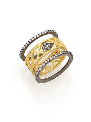 Two-Tone Lattice Clover Ring Set