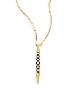Two-Tone Crystal Pendant Necklace