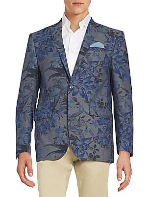 Slim-Fit Floral-Print Cotton Blazer