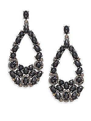 1.35 TCW Champagne Rose Cut Diamonds, 19.50 CT Black Spinel & Sterling Silver Earrings