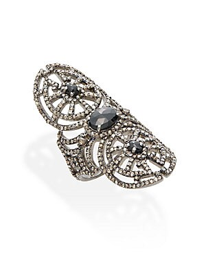 2.13 TCW Champagne Rose Cut Diamonds, 1.39 CT Black Spinel & Sterling Silver Ring