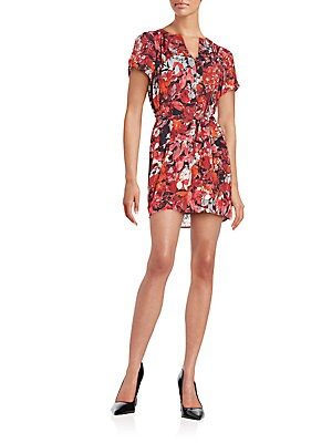 Leaf-Print Short Sleeve Wrap Dress