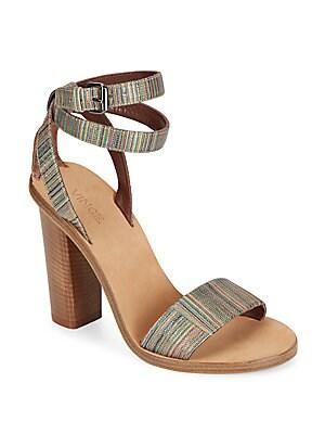 Nava Striped Metallic Leather Sandals