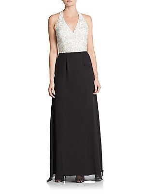 Beaded Two-Tone Halter Gown