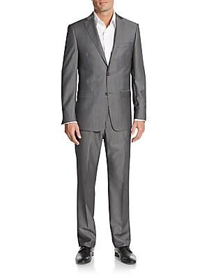 michael kors male 45906 regularfit sharkskin woolblend suit