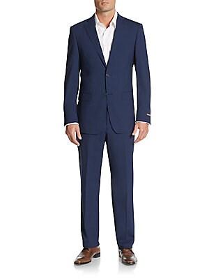michael kors male 236621 regularfit solid stretchwool suit