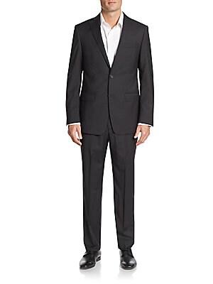 michael kors male 188971 regularfit tonal check wool suit