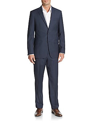 michael kors male 236621 regularfit plaid wool suit