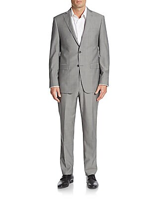 michael kors male 45906 regularfit plaid wool suit