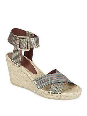 Stefania Striped Leather Espadrille Wedges