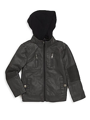 Toddlers  Little Boys Hooded Moto Jacket