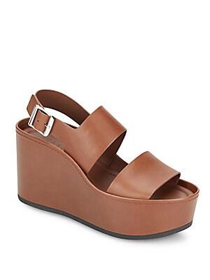 Idalia Leather Platform Wedge Sandals