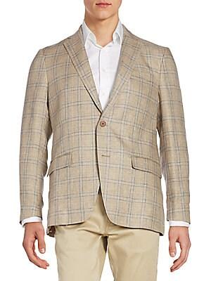 michael kors male 263045 regularfit plaid linen sportcoat
