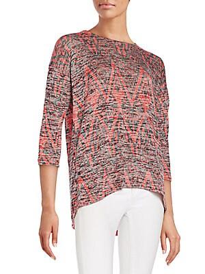 Geometric-Print Space Dye Sweater