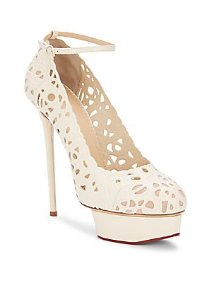 Scribble Dolores Laser-Cut Leather Platform Pumps