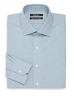 Thomas Mason Cotton Slim-Fit Mini Check Dress Shirt