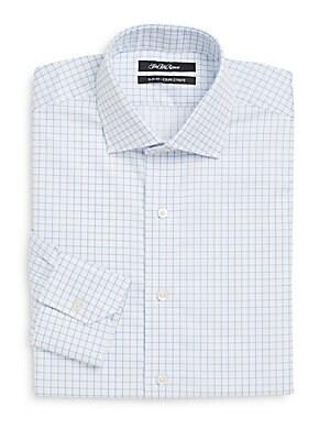 Thomas Mason Cotton Slim-Fit Windowpane Dress Shirt