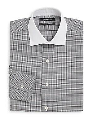 Thomas Mason Cotton Slim-Fit Contrast-Collar Plaid Dress Shirt