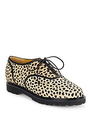 Stefania Cheetah-Print Calf Hair Oxfords