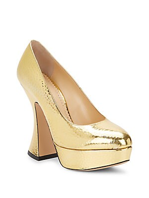 This Is Not A Shoe Embossed Metallic Leather Pumps
