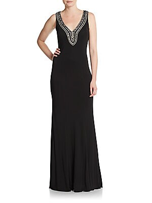 Jersey Beaded-Neckline Gown