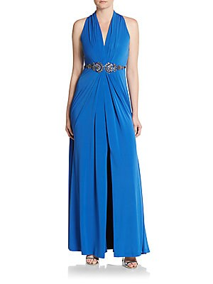 Embellished Jersey-Knit Gown