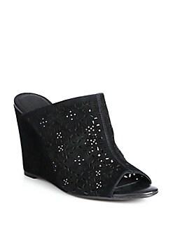 Anita Laser-Cut Suede Wedge Sandals