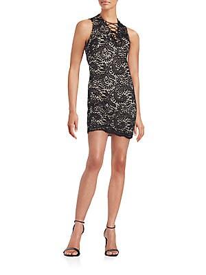 Lace-Up Lace Mini Dress