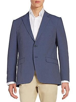 Regular-Fit Seersucker Striped Sportcoat