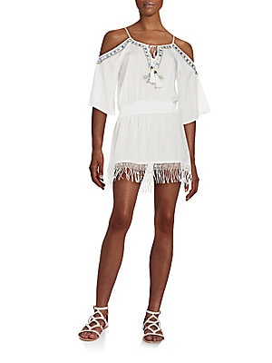 Fringe Hem Cold Shoulder Dress