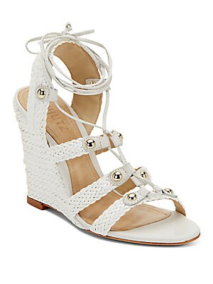 Jayne Woven Leather Lace-Up Wedge Sandals