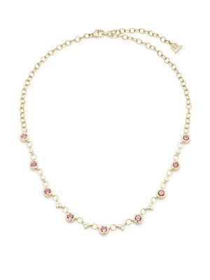 Bellina Pink Tourmaline, Diamond & 18K Yellow Gold Necklace