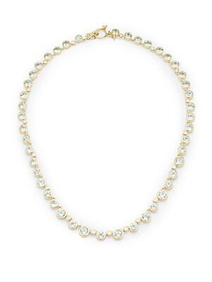 Aquamarine, Peridot, Diamond & 18K Yellow Gold Necklace