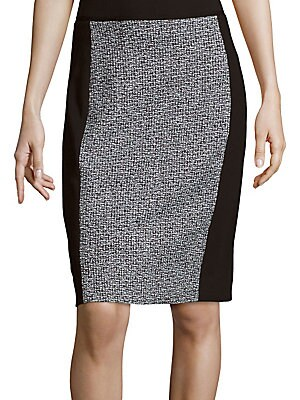 Colorblocked Tweed Pencil Skirt