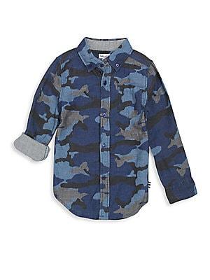 Boy's Camo-Print Cotton Shirt