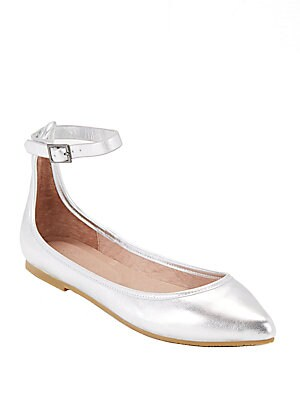 Temple Buckle Leather Ballet Flats